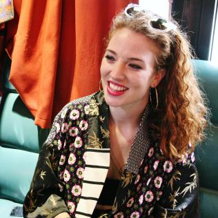 Jess Glynne on her tour bus. Exclusive pic Copyright: Simon Redley